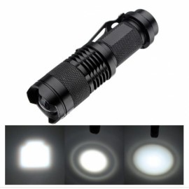 Q3 3W 210 Lumen 1 Mode Mini Focus Flashlight Torch with Pen Clip Black