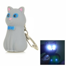 Cute Cat in Bowknot Style 2-LED White Flashlight Keychain with Sound Grey & Pink & Multi-Colored