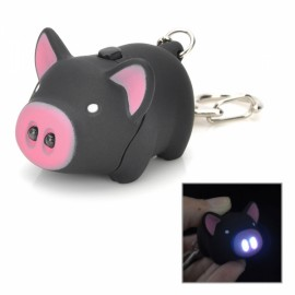 Cute Pig Style 2-LED White Light Keychain with Sound Effect Black & Pink (3 x AG10)