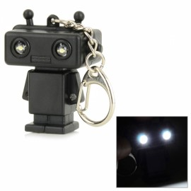 Cartoon Robot Keychain with 2-White LED & Sound Black (3 x AG10)
