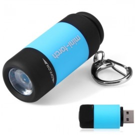 25 Lumens Mini Torch Keychain Pocket USB Rechargeable LED Light Flashlight Lamp for Outdoors Dark Blue