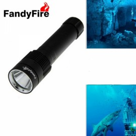FandyFire 2 LED 1200LM 5 Modes Cool White Diving Flashlight Black