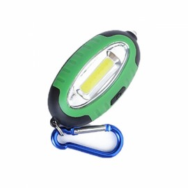 Outdoor COB LED Keychain Lamp Work Light Mini Pocket Torch Money Detector with Carabiner Green