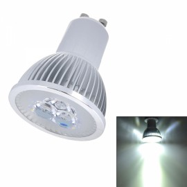 JR-GU10-3W 300LM 6000-6300K 3-LED White Spotlight Silver (85-265V)