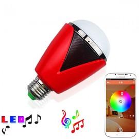 H1007 Bluetooth 4.0 App Remote Control Intelligent Timer Smart Speaker 16 Million Color RGB Light Bulb Red