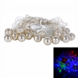 5M 20-Light ?25mm LED Hollow-out Silver Ball Shape Festival Decoration String Light Colorful Light