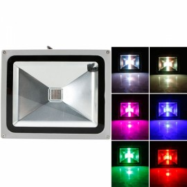 30W RGB Aluminium Alloy LED Flood Light with IP65 Waterproof & Remote Control Gray (AC 90-260V)