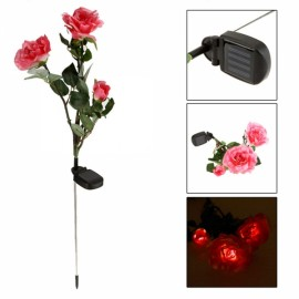 Waterproof Solar Power 3-Flower Rose Shaped LED Light Green & Pink