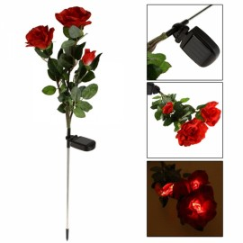 Waterproof Solar Power 3-Flower Rose Shaped LED Light Green & Red