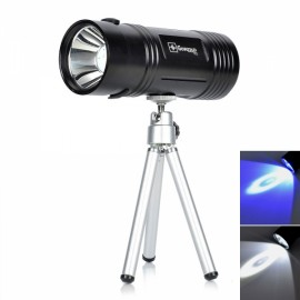 Blue & White Light Dual-LED 6-Mode Rechargeable Fishing Light with Tripod Black