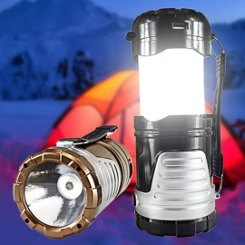 5W 600LM 6-LED 2 Modes Solar Power Outdoor Camping Lantern Flashlight Bronze