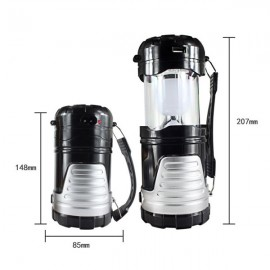 5W 600LM 6-LED 2 Modes Solar Power Outdoor Camping Lantern Flashlight Black