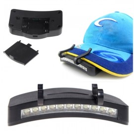 11-LED Clip-On Cap Light Lamp Hiking Camping Fishing Outdoor Caplight Black