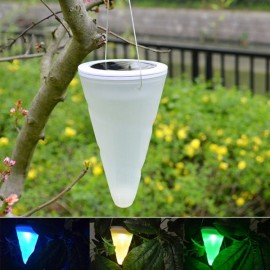 Solar Cone Shaped Hanging Light Pendant Lamp Outdoor Lighting Colorful