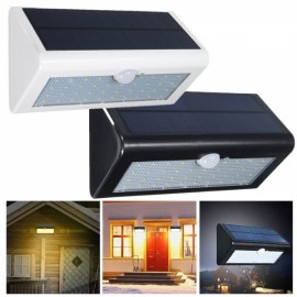 38-LED White Light Solar Power PIR Motion Body Sensor Light Outdoor Waterproof Wall Garden Fence Shed Flood Lamp White