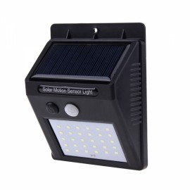 30 LED Solar Powered Panel Motion Sensor Outdoor Garden Wall Light Black