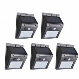 5PCS 25 LED Solar Powered PIR Motion Sensor Light Outdoor Garden Security Wall Light