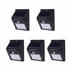 5PCS 30 LED Solar Powered Panel Motion Sensor Outdoor Garden Wall Light Black