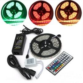 12V 5M 72W SMD5050 300LEDs RGB IR44 Epoxy Waterproof LED Light Strip Set (White Lamp Plate)