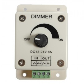 DC 12-24V 8A 1 Channel LED Dimmer Switch Adjustable Brightness Controller for Dimmable Lamp Light Bulb White