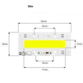30W DIY COB LED High Voltage Drive Free Chip Bulb Bead for Flood Light Warm White (AC220V)