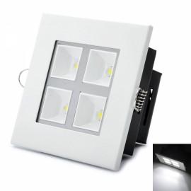 Square Shape 4W 6000K 380LM 4-LED White Light Panel White & Black (AC 89~265V)