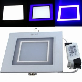 ZSJ-H15+5 20W 1600LM 30-SMD5630 White LED + 18-SMD2835 Blue LED Dimmable Square Panel Light (AC 85-265V)