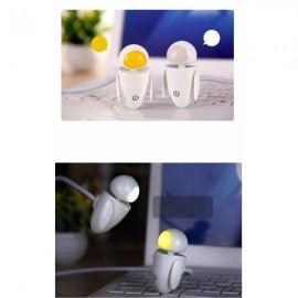 Creative Mini Robot 3-Level Touch Dimmer White Light USB LED Night Light