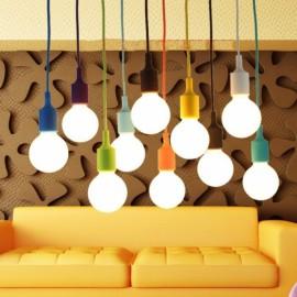 E27 Silicone Rubber Pendant Light Lamp Holder Socket DIY Orange