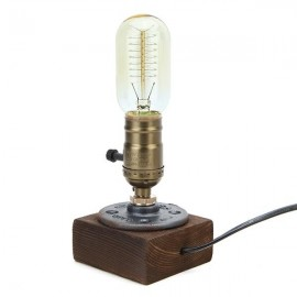 Loft Vintage T45 Edison Bulb Table Lamp Water Pipe Light Home Bar Decor US Plug Bronze(220V)