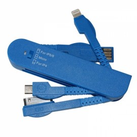 Swiss Knife Shaped Multifunctional Foldable 3-in-1 30 Pin + 8 Pin + Micro USB Cable Blue