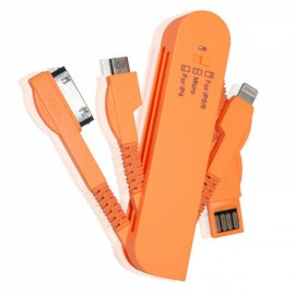 Swiss Knife Shaped Multifunctional Foldable 3-in-1 30 Pin + 8 Pin + Micro USB Cable Orange