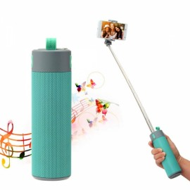 Portable Wireless Bluetooth Speaker with Selfie Stick/Power Bank/Phone Shelf Blue