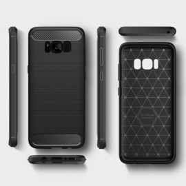 Bakeey TPU Carbon Fiber Texture Brushed Finish Non-slip Anti Fingerprints Back Case for Samsung Galaxy S8 Mint Black