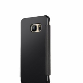 Electroplating Acrylic Mirror PC Smart Sleep Flip Full Body Case for Samsung Galaxy S8 Plus Black