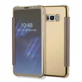 Electroplating Acrylic Mirror PC Smart Sleep Flip Full Body Case for Samsung Galaxy S8 Plus Gold