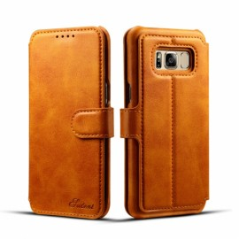 Leather Cover Wallet Back Case with Card Cases for Samsung GALAXY S8 Plus- Khaki