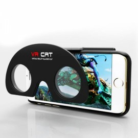 VR Cat Folding VR Virtual Reality 3D Glasses Cellphone Case Black