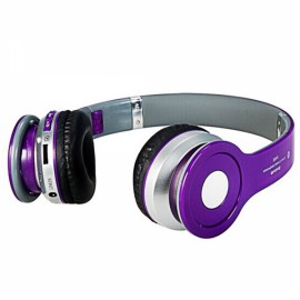 Foldable On-ear Wireless Stereo Bluetooth Headphones Headset with MP3/FM/TF Card Reader Purple