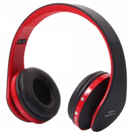 NX-8252 Foldable Wireless Stereo Sports Bluetooth Headphone Headset with Mic for iPhone/iPad/PC Red & Black