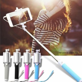 3.5mm Cable Connected RC Self Timer Stretchable Selfie Monopod Camera Shutter with Rearview Mirror Blue