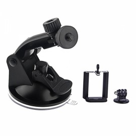 Suction Cup Mount + Tripod Adapter + Phone Clip Accessories Set Black