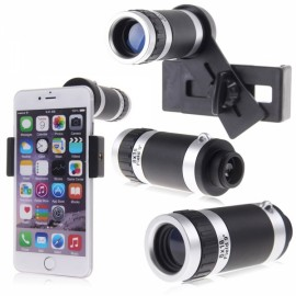 8X Zoom Telescope Optical Camera Lens with Universal Holder for all Cellphone Black