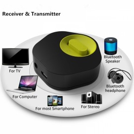 2-in-1 Bluetooth 3.5mm Receiver & Transmitter Adapter Black & Yellow