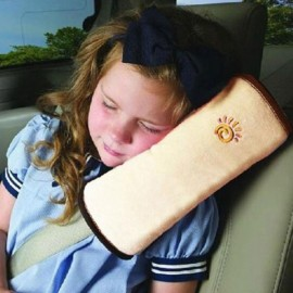 Cute Children Car Seat Belt Shoulder Protection Back Cushion Pillow Beige