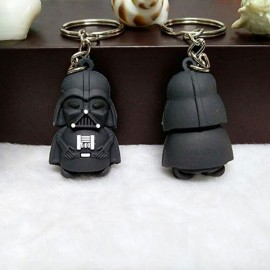 Cute Cartoon Style Moive Character 3D Solid Black Soldier Car Pendant Key Ring Random Color
