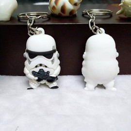 Cute Cartoon Style Moive Character 3D Solid White Soldier Car Pendant Key Ring Random Color