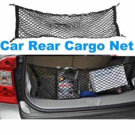 Universal Dual-Layer Car SUV Rear Trunk Cargo Luggage Mesh Net Holder Kit Black 90x30cm