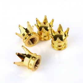 4pcs Crown Shaped Tyre Wheel Stem Air Valve Caps Car Tire Valve Caps Auto Truck Motocycle Bike MTB Dust Dustproof Caps Golden