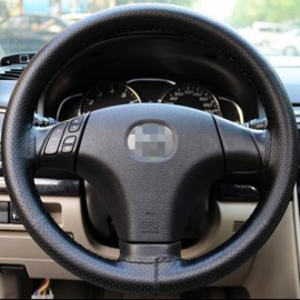 DIY Car Steering Wheel Cover with Needles and Thread Black
